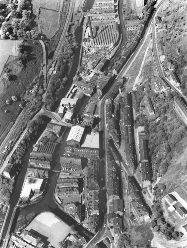 Hebden Bridge from the air after the demolition on Bridge Lanes